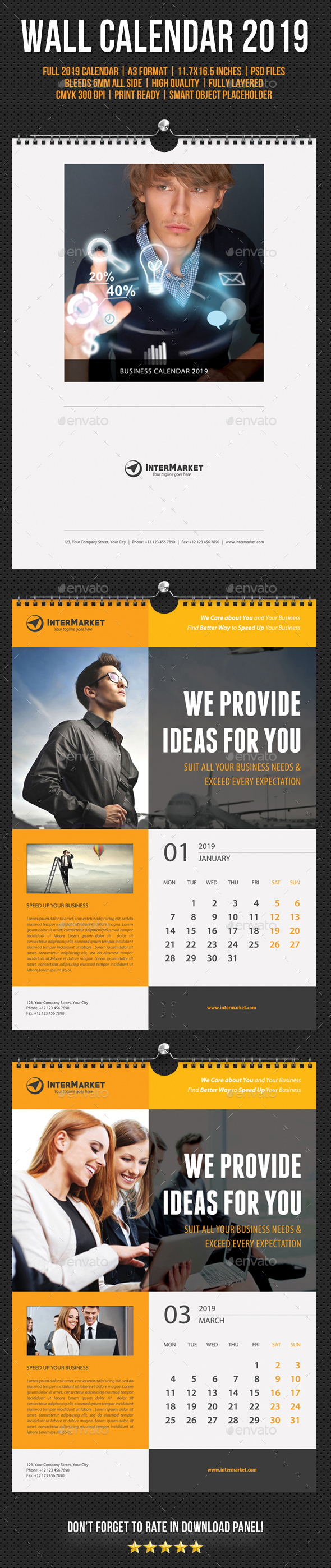 Corporate Wall Calendar 2019 V01 - Calendars Stationery
