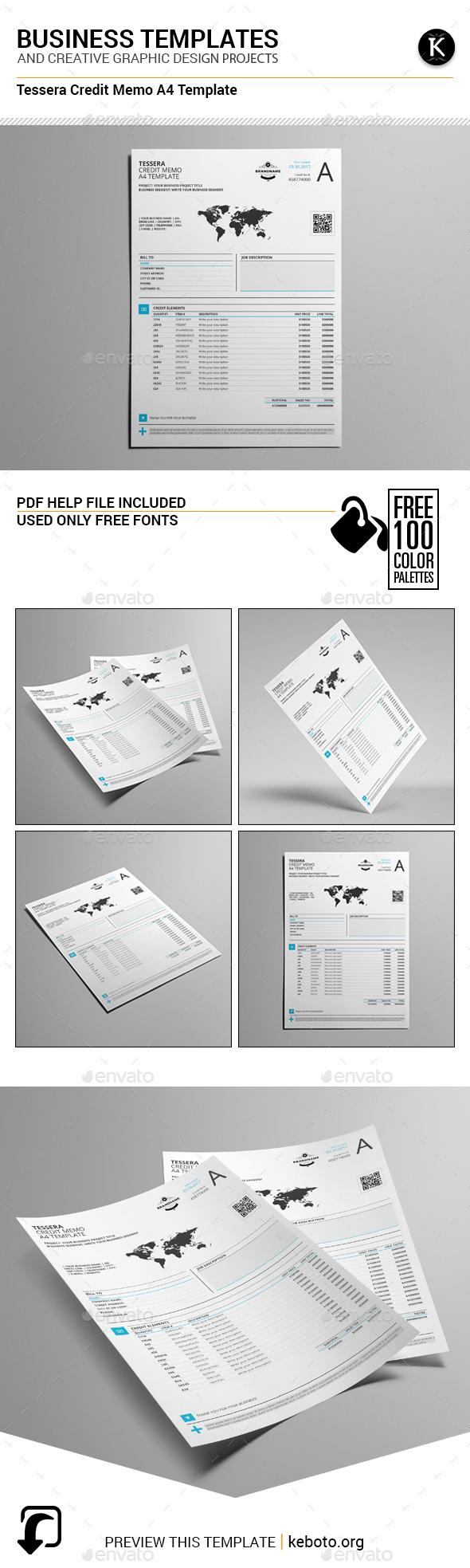Tessera Credit Memo A4 Template - Miscellaneous Print Templates