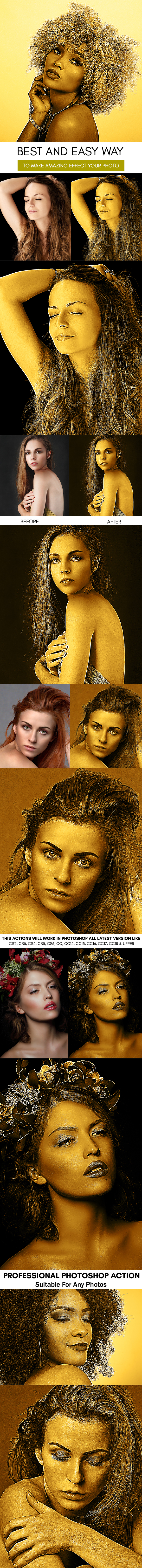 Dry Gold Body Paint :: Photoshop Action - Photoshop Add-ons