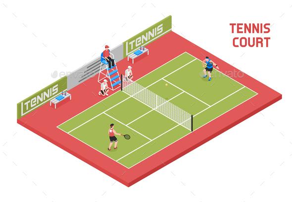 Sport Tennis Court Isometric - Sports/Activity Conceptual