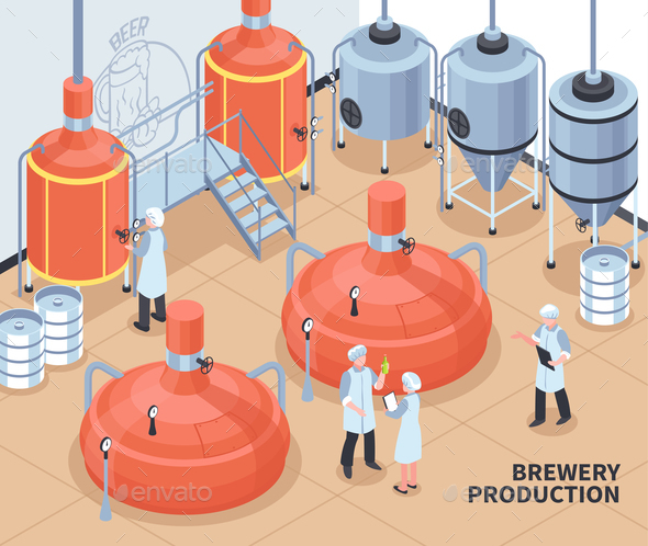 Brewery Production Isometric Illustration - Industries Business
