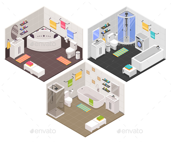 Bathroom Isometric  Set - Miscellaneous Vectors
