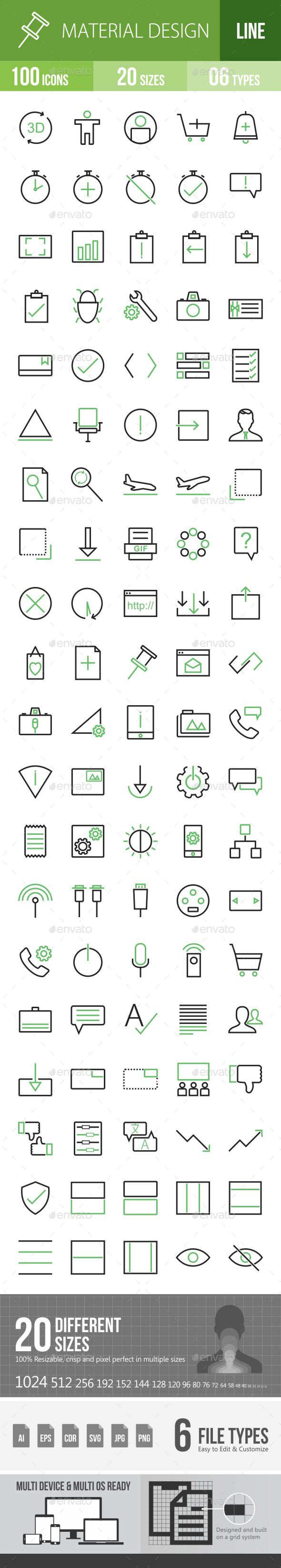 Material Design Green & Black Icons - Icons