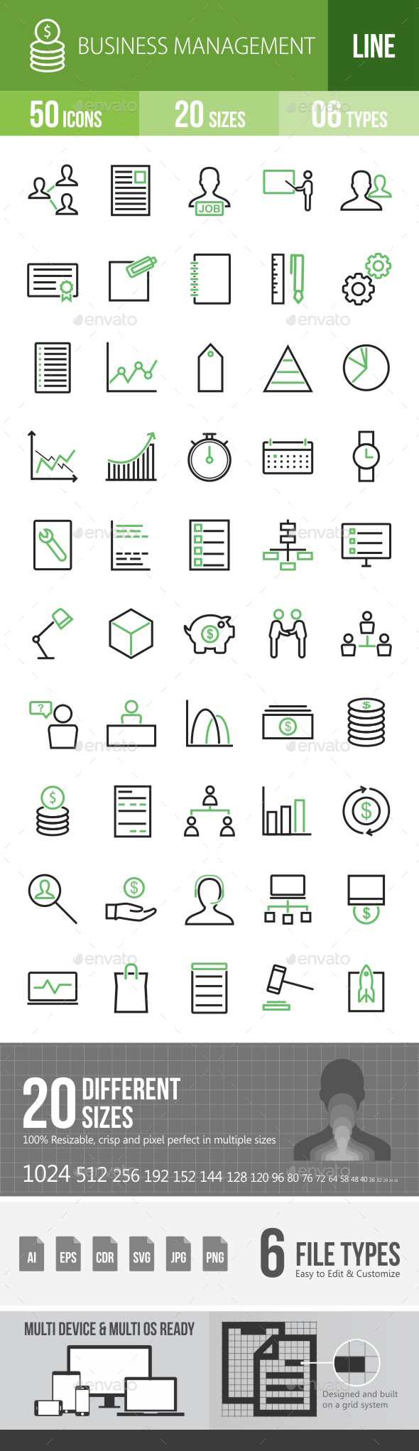 Business Management Green & Black Icons - Icons