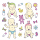 Collection of Baby Characters and Elements - GraphicRiver Item for Sale