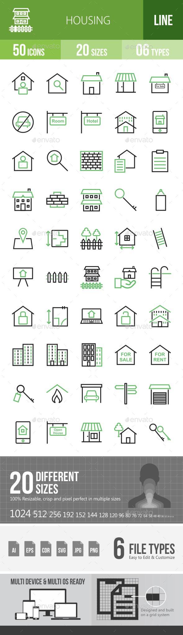 Housing Green & Black Icons - Icons
