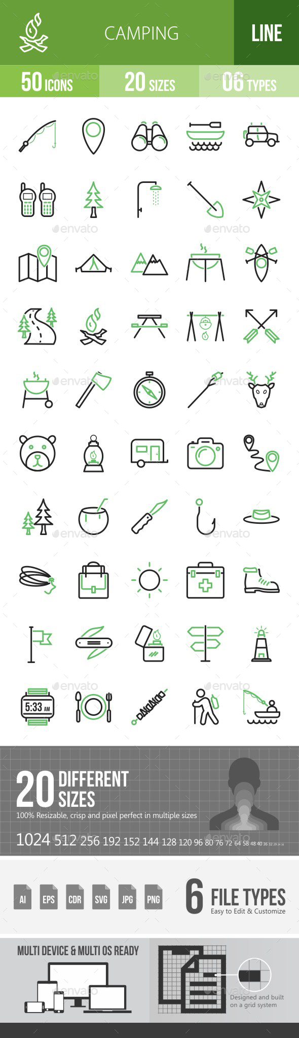 Camping Green & Black Icons - Icons