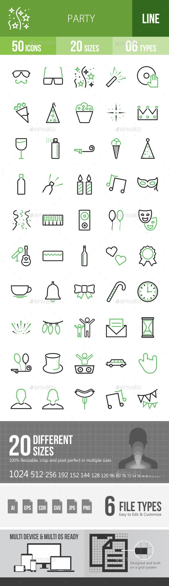 Party Green & Black Icons - Icons