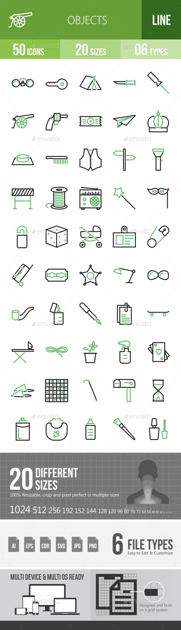 Objects Green & Black Icons - Icons