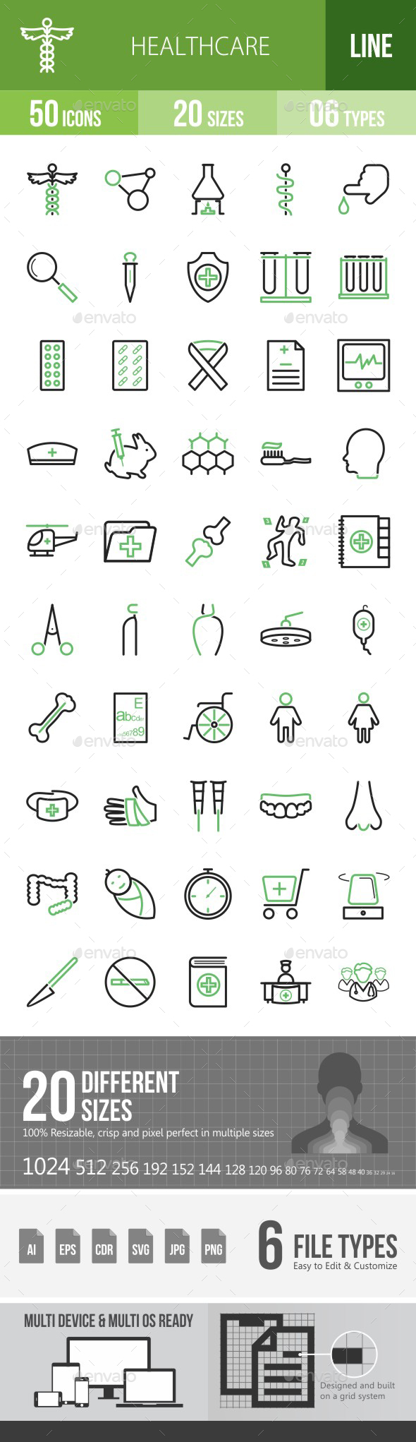 Healthcare Green & Black Icons - Icons