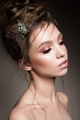 Glamour portrait of beautiful girl model with makeup and romantic hairstyle. - PhotoDune Item for Sale