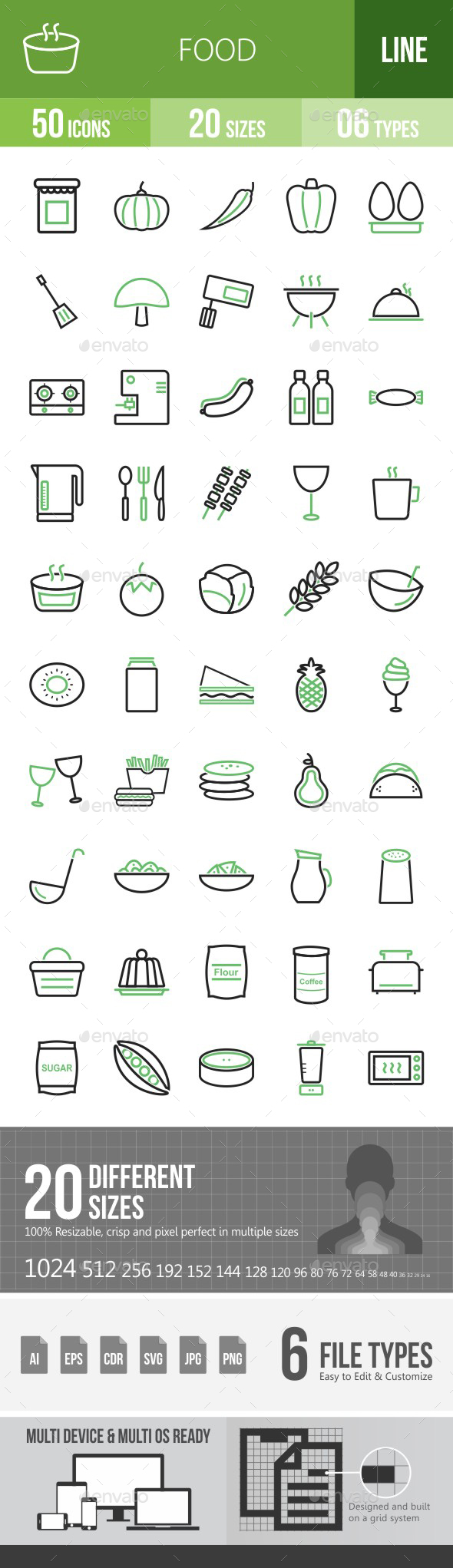 Food Green & Black Icons - Icons