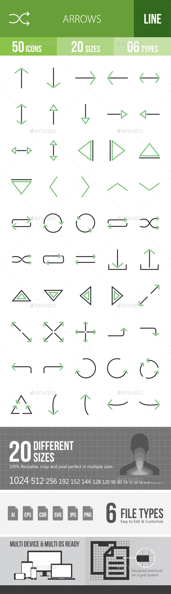 Arrows Green & Black Icons - Icons