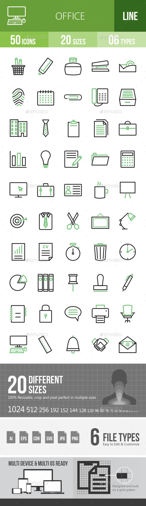 Office Green & Black Icons - Icons