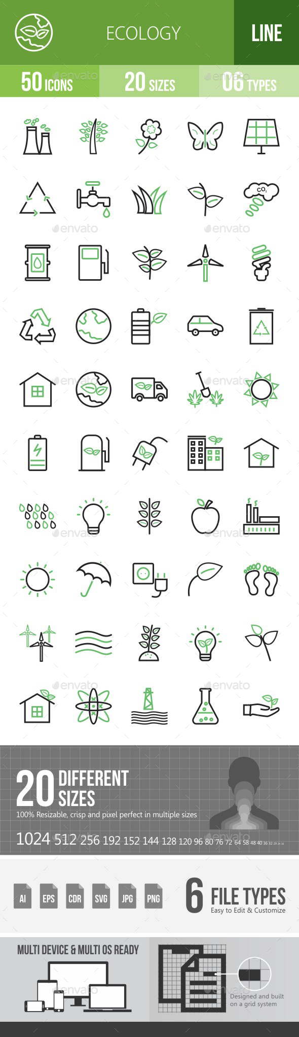 Ecology Green & Black Icons - Icons