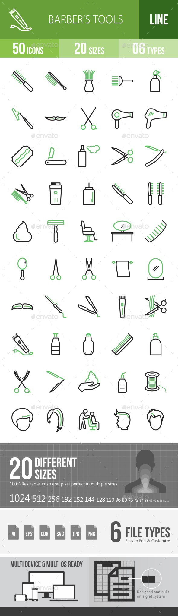 Barber's Tools Green & Black Icons - Icons