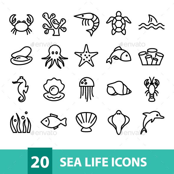 20 Sea Life Icons - Miscellaneous Icons