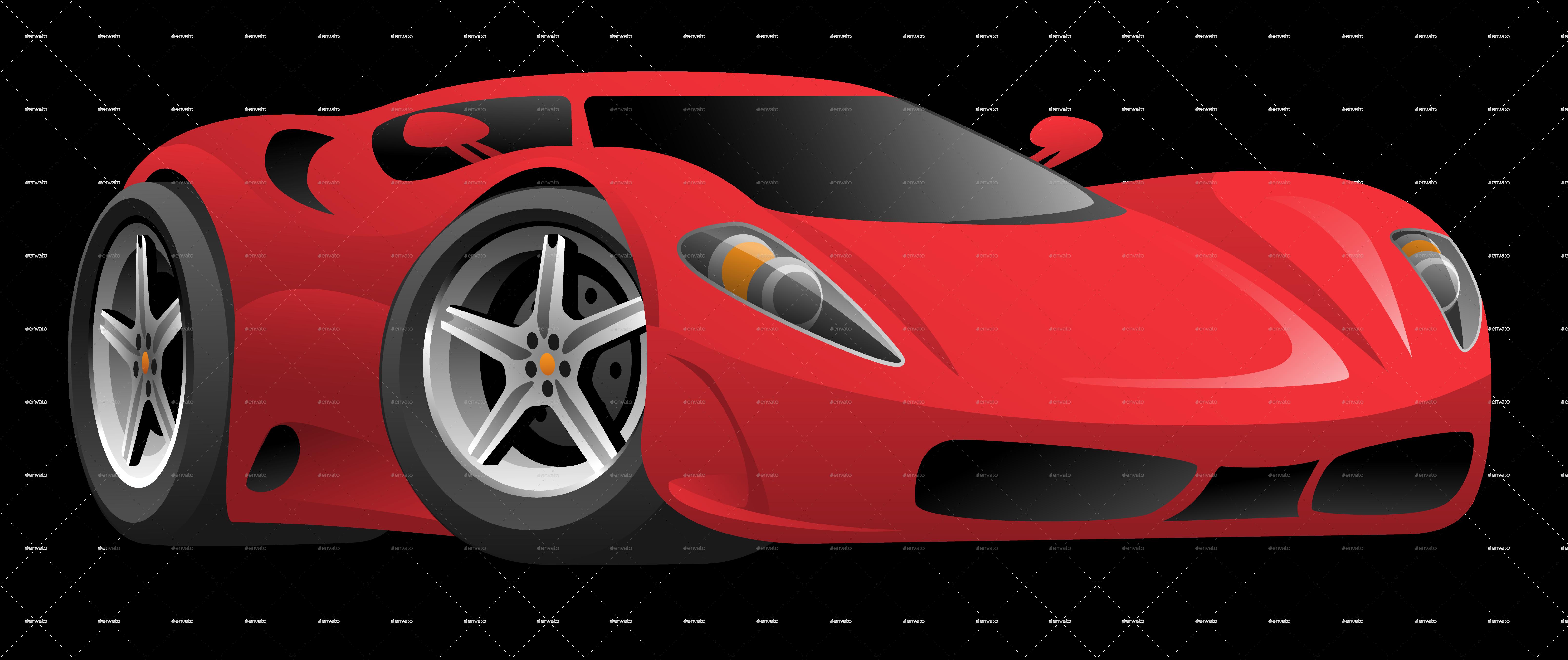Fancy Car Logos >> Red Hot European Style Sports Car Cartoon by jeffhobrath   GraphicRiver
