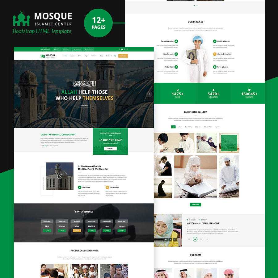 Mosque - Islamic Center Bootstrap HTML Template - 1