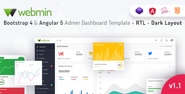 Webmin - Bootstrap 4 & Angular 5 Admin Dashboard Template - Admin Templates Site Templates