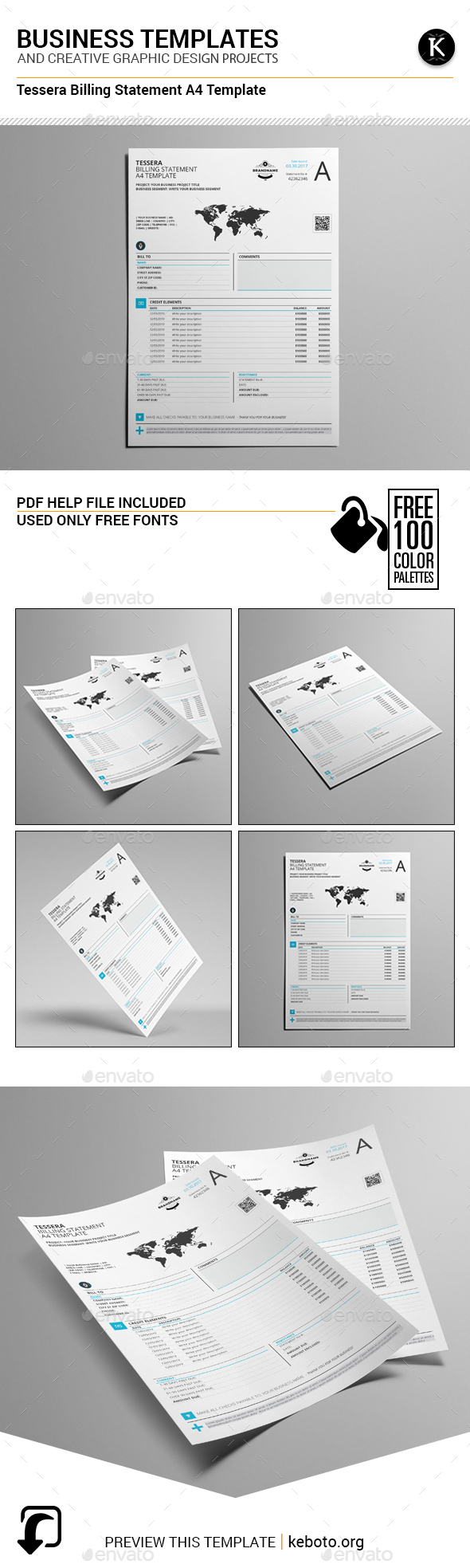 Tessera Billing Statement A4 Template - Miscellaneous Print Templates