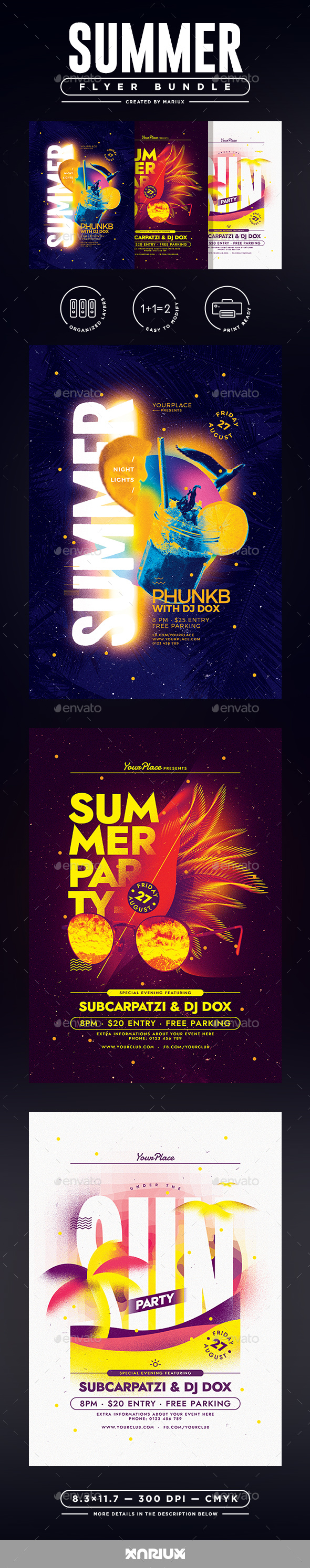 Summer Party Flyer/Poster Bundle - Clubs & Parties Events