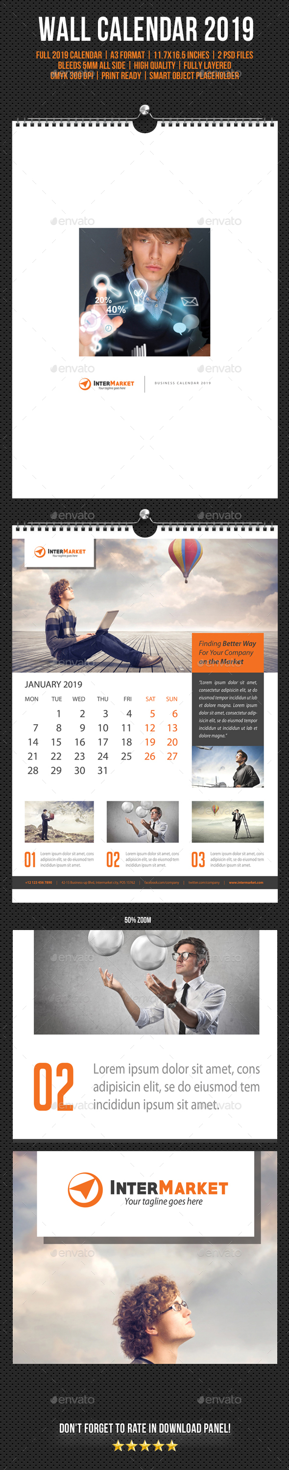 Corporate Wall Calendar 2019 V05 - Calendars Stationery