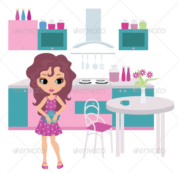 Cartoon girl on kitchen bears a teapot - People Characters