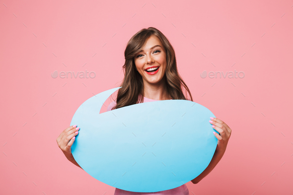 Image closeup of smiling european woman holding blank blue thoug - Stock Photo - Images