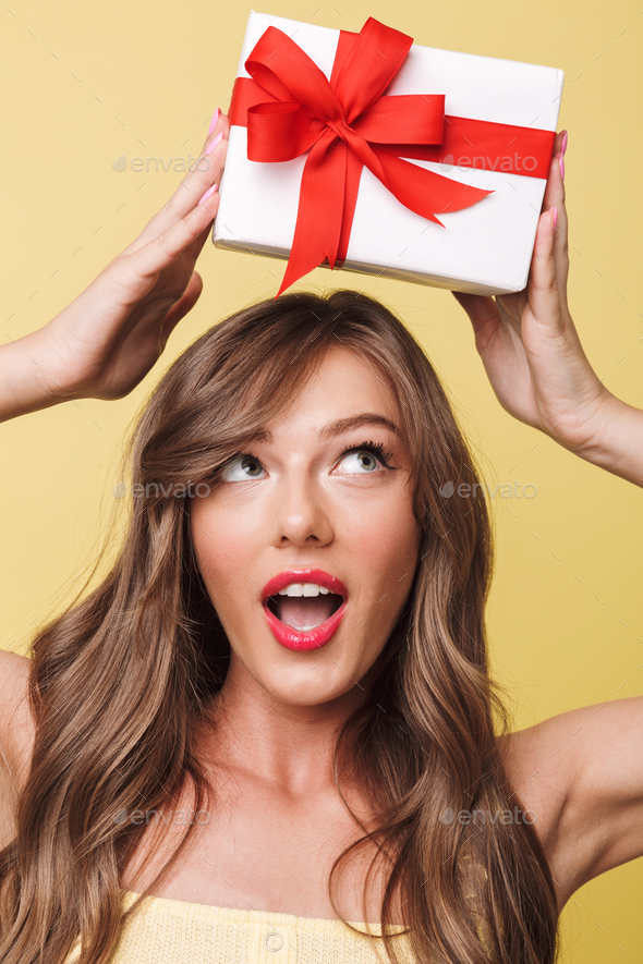 Photo closeup of excited curious woman having long brown hair sm - Stock Photo - Images