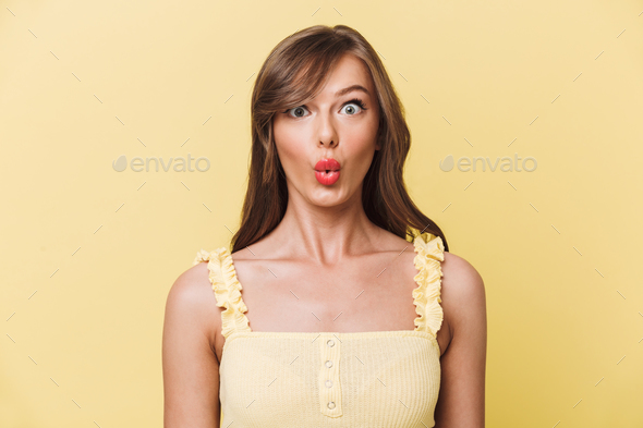 Shocked young beautiful woman - Stock Photo - Images
