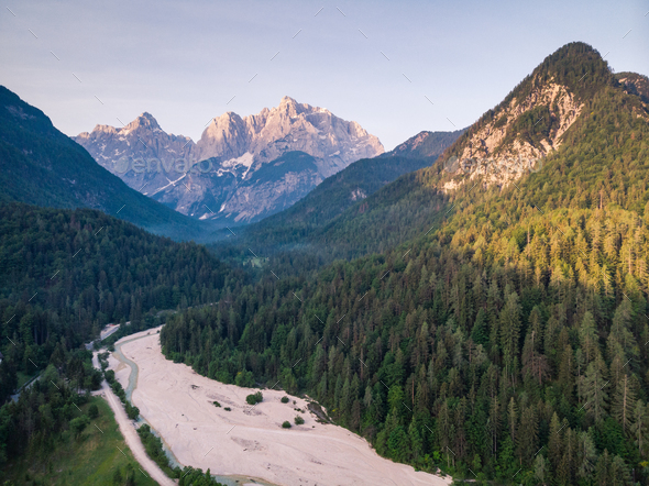 Sunrise in Julian Alps, Slovenia, aerial drone view - Stock Photo - Images