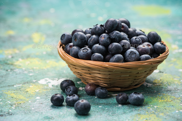 Fresh ripe blueberry in basket - Stock Photo - Images