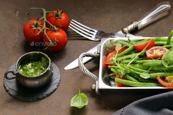 Salad of Green Beans  - Stock Photo - Images