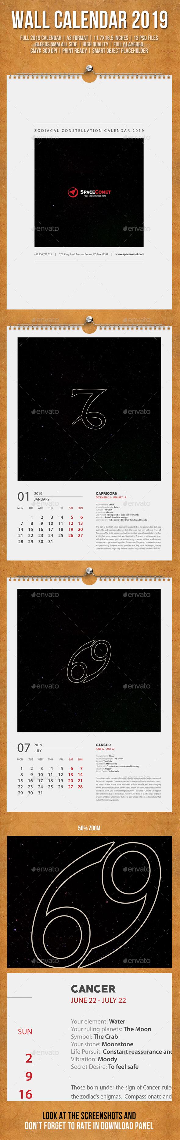 Constellation Wall Calendar A3 2019 - Calendars Stationery