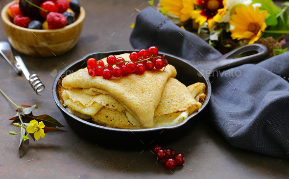 Thin Pancakes  - Stock Photo - Images