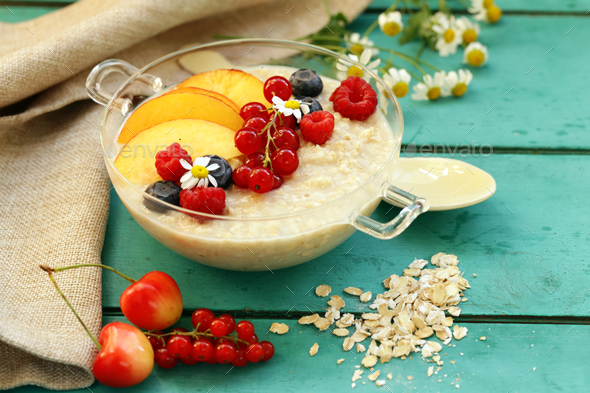 Oat Porridge with Berries - Stock Photo - Images