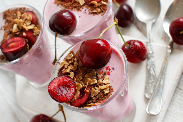 Cherry and yogurt chia pudding parfait - Stock Photo - Images