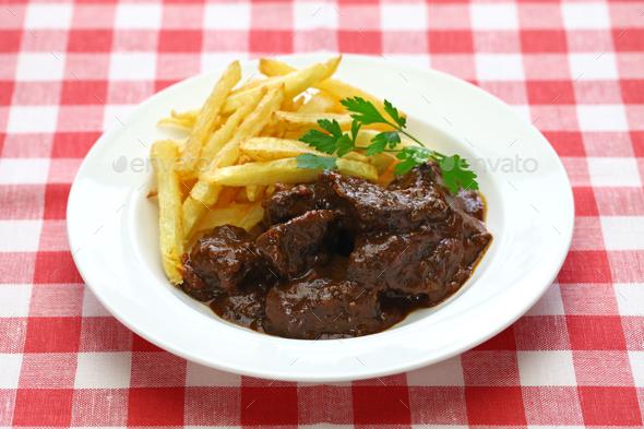 carbonade flamande, flemish beef stew, belgian cuisine - Stock Photo - Images