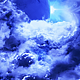 Flying Through Abstract Blue Clouds to Mysterious Planet with Star Shine on Background - VideoHive Item for Sale