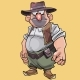 Cartoon Character Bellied Male Cowboy in Hat