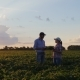 Farmers Man and Woman Are Talking While Standing in a Field - VideoHive Item for Sale