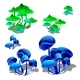 Set Growing Bright Neon Mushrooms Isolated