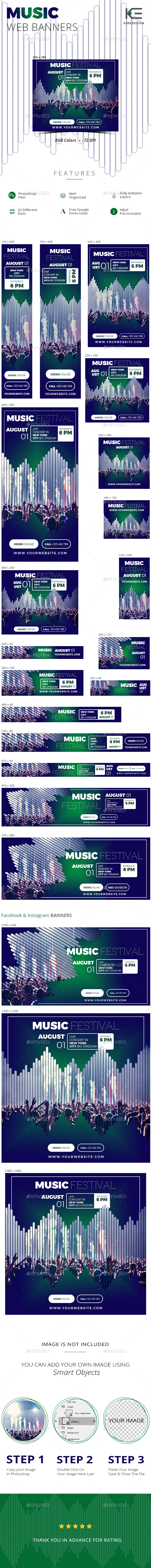 Music Web Banners - Banners & Ads Web Elements
