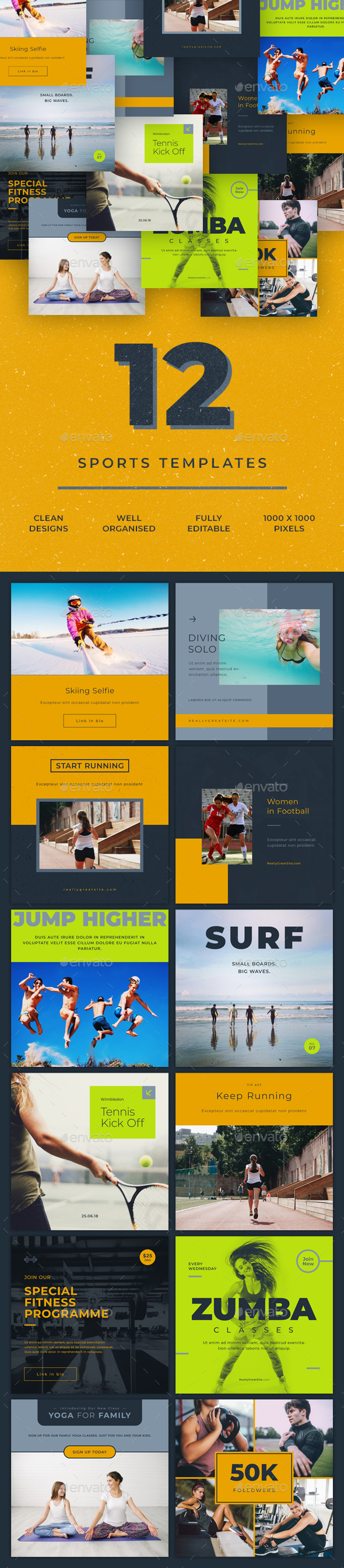 Sports - 12 Social Media Templates - Miscellaneous Social Media