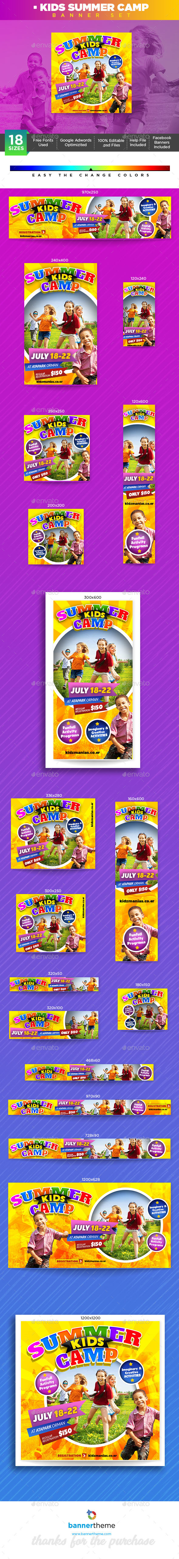 Kids Summer Camp Banner - Banners & Ads Web Elements