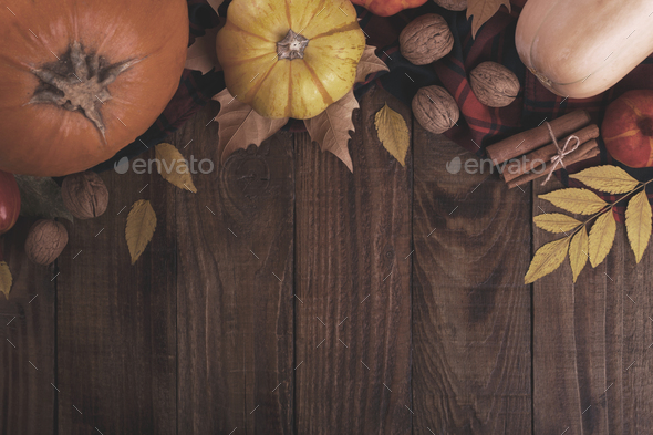 Autumn pumpkin and leaves background - Stock Photo - Images