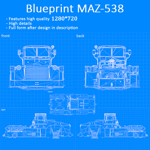 Blueprint Car - MAZ-538 - 3DOcean Item for Sale