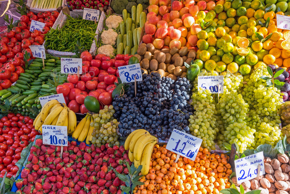 Piles of fruits and vegetables for sale - Stock Photo - Images