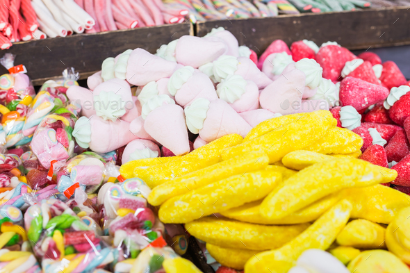 Assortment of fine chewy candy the most delicious of them banana - Stock Photo - Images